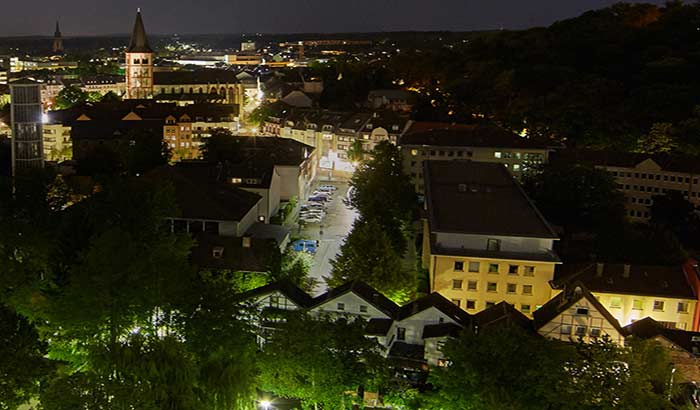 The city of Sieburg, Germany vividly illuminated at night Siegburg